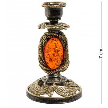Am-1879 подсвечник ива (латунь, янтарь)