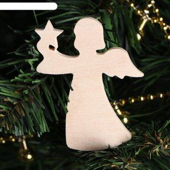 Деревянная заготовка ангел пасхальный, 7 х 5,5 х 0,5 см, бук