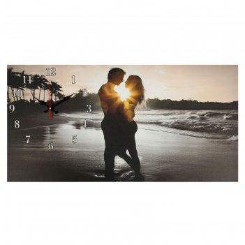 Часы настенные, серия: люди, на холсте влюбленная пара, 40х76  см, микс