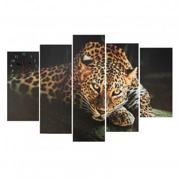 Часы настенные модульные «леопард», 80 x 140 см