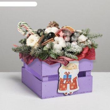 Ящик реечный с декором дм, фиолетовый, 13 х 13 х 9 см