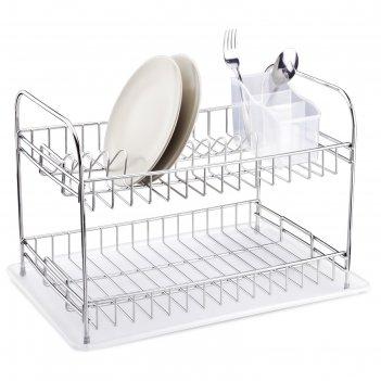 Сушилка для посуды и приборов, настольная, с поддоном, цвет хром, kb007