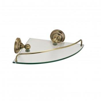 Полка стеклянная угловая fixsen fx-83803a, бронза