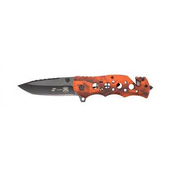 Нож складной stinger, 86 мм (чёрный), рукоять: алюминий (оранж. камуфляж),