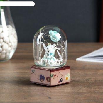 Сувенир полистоун свет белый мишка с воздушными шариками микс 11,5х7х7 см