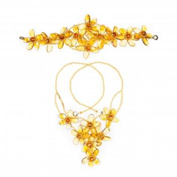 Комплект с цветами из балтийского янтаря: колье, браслет.