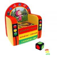 Мягкая игрушка кресло-кровать маша и медведь с игральным кубиком