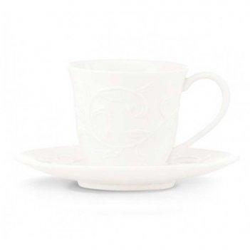 Чашка кофейная с блюдцем 90мл чистый опал, рельеф
