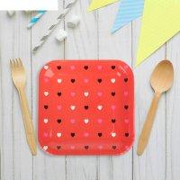 Набор бумажных тарелок цветные сердечки красный цвет, (6 шт), 23 см