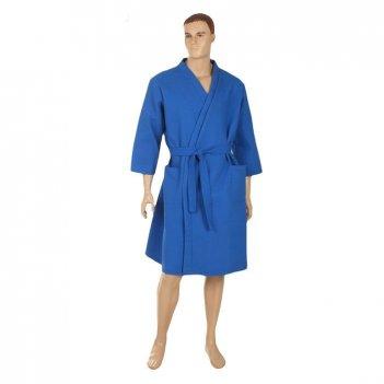 Халат вафельный запашной классический мужской, размер 58, цвет синий, 180