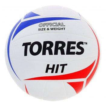 Мяч волейбольный torres hit, р.5, бело-красно-синий
