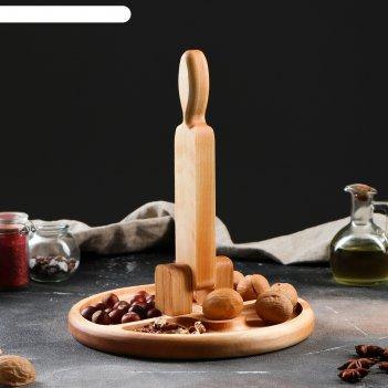 Тарелка для колки орехов орехокол, 25х25 см, массив ясеня