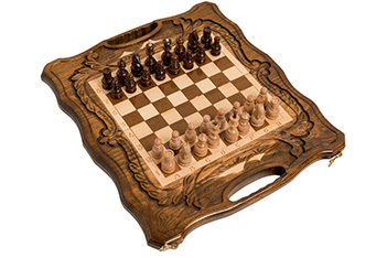 Шахматы + нарды резные c араратом 40 с ручкой, haleyan 40х40см
