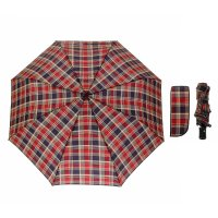 Зонт автоматический «клетка», 3 сложения, 8 спиц, r = 49 см, цвет бордовый