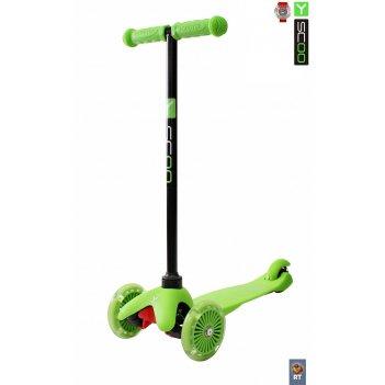 Самокат y-scoo rt mini shine a5 green светящиеся колеса (от 2лет, до 30кг)