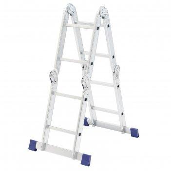 Лестница шарнирная сибртех 97879, алюминиевая, 4х2 ступени