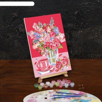 Картина по номерам на холсте букет в вазе, 30*20 см