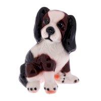Статуэтка собака малыш, бело-коричневая