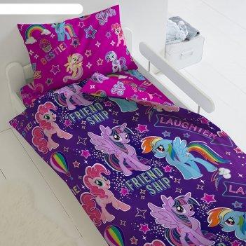 Постельное бельё 1,5 сп my little pony neon «дружба»