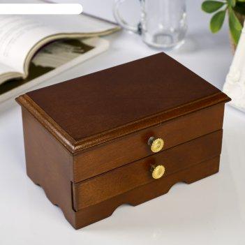 Шкатулка дерево для украшений комод с ящиком коричневая 9х10х16 см