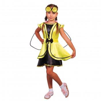 Карнавальный костюм муха, платье, повязка, р-р 28, рост 98-104 см