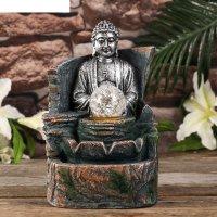 Фонтан настольный от сети, подсветка медитация будды серебро 21,5х16,5х13