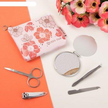 Набор маникюрный в косметичке «цветы», 5 предметов