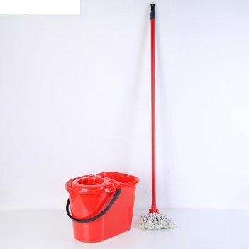 Набор для уборки: ведро с отжимом 14 л, насадка х/б, черенок 110 см, цвет