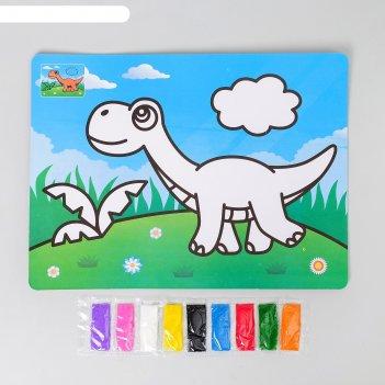 Фреска с цветным основанием динозавр 9 цветов песка по 2 г