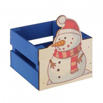 Ящик реечный снеговик  (печать) 13х13х9/15 см, синий