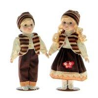 Кукла коллекционная в коричневом джинсовом костюме, в наборе 2 шт