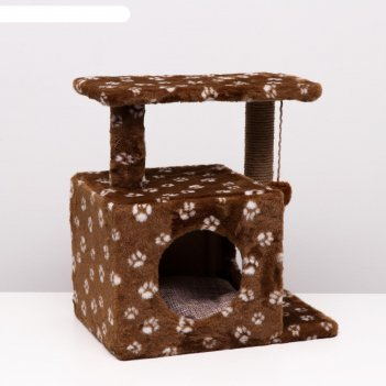 Домик-когтеточка квадратный двухэтажный с двумя окошками, 50х36х75 см, джу