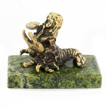 Статуэтка знак зодиака рак бронза змеевик