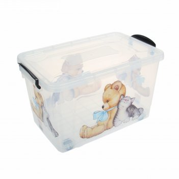 Ящик для хранения 35 л мишка и котенок, прозрачный