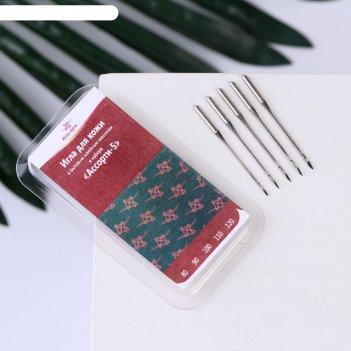 Иглы для бытовых швейных машин, для кожи, №80-120, 5 шт