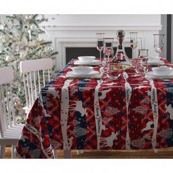Скатерть с пропиткой «рождество в узоре», 140х220 см, оксфорд, 240 г/м2, 1
