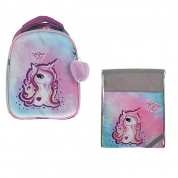 Рюкзак каркасный luris «джой 1», 38 х 30 х 17 см, + мешок для обуви, «един