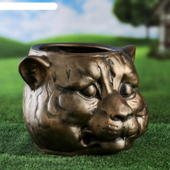 Фигурное кашпо голова тигра, бронза тёмная, 8.5 л