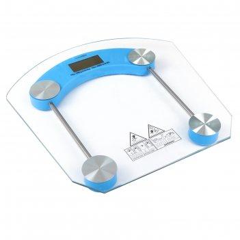 Весы luazon lve-002, напольные, электронные, до 180 кг, голубые