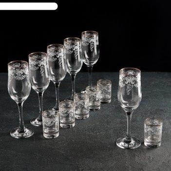 Набор подарочный 12 предметов лилия: 6 бокалов 200 мл, 6 стопок 50 мл, гра