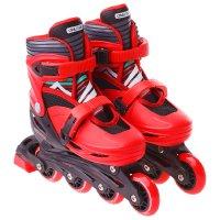 Роликовые коньки раздвижные, колеса pvc 64 мм, пластиковая рама, red/black