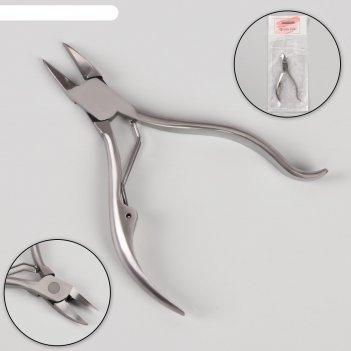 Кусачки педикюр изогнут ручка 1 пружина 11см(15мм) серебр чехол пакет qf