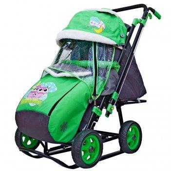 Санки-коляска snow galaxy city-2 совушки на зелёном на больших колёсах ева