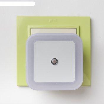 Ночник квадро, 1 х 0.5 вт led (с датчиком освещённости), микс