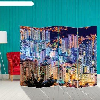Ширма ночной город, двухсторонняя, 200 x 160 см