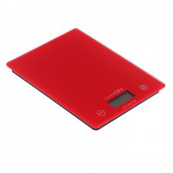Весы электронные кухонные luazon lvk-702 до 5 кг, стекло, красные