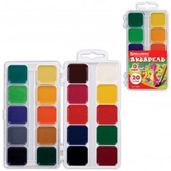 Акварель медовая 20 цветов, пластиковая коробка, без кисти