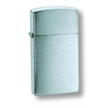 1600 зажигалка zippo узкая slim brush chrome