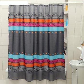 Штора для ванной 180x180 см абстракция, полиэстер