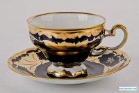 Набор для чая подарочный кленовый лист синий 819(чашка210м